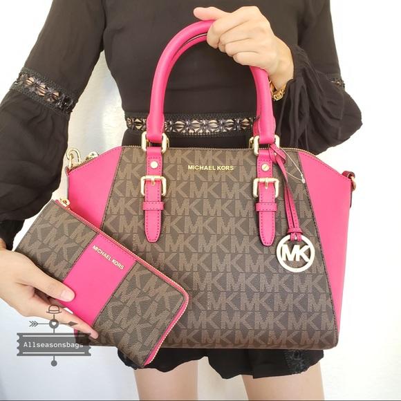 9d83b34617bf Michael Kors Bags   Nwt Large Ciara Satchel Pink Wallet   Poshmark